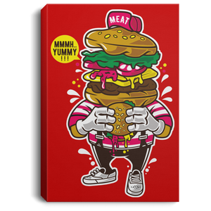 I Love Burger Portrait Canvas .75in Frame