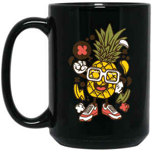 Pinneapple 15 oz. Black Mug