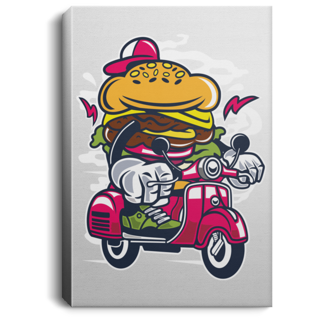 Burger Scooter Portrait Canvas .75in Frame