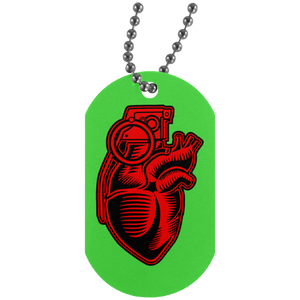 Grenade Heart Silver Dog Tag