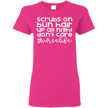 "Load image into Gallery viewer, ""Scrubs on, Bun Hair"" Ladies' T-Shirt"
