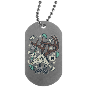 Deer Skull Silver Dog Tag