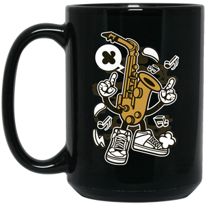 Saxophone 15 oz. Black Mug