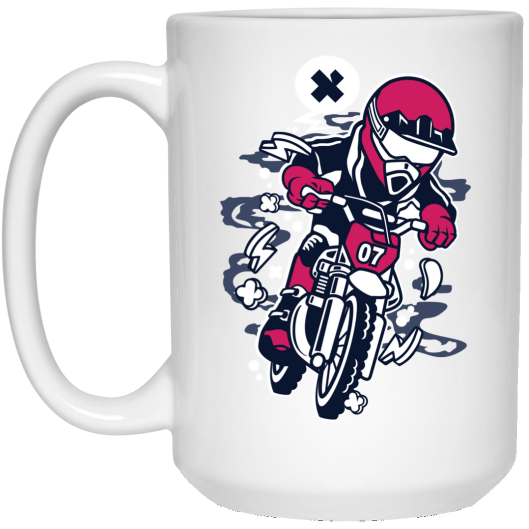 Motocrosser Mini 15 oz. White Mug