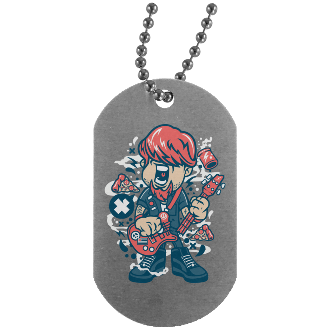 Broken Guitar Silver Dog Tag