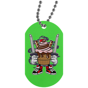 Ice Cream Ninja Silver Dog Tag