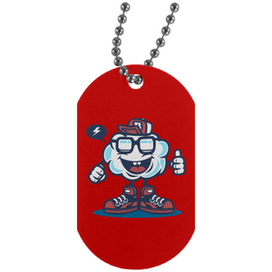 Funky Cloud Silver Dog Tag