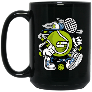 Let's Play Tennis 15 oz. Black Mug