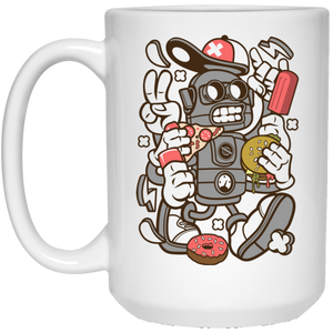 Junk Food Robot 15 oz. White Mug