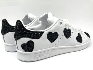 Adidas Smith Smith con cuori in glitter nero