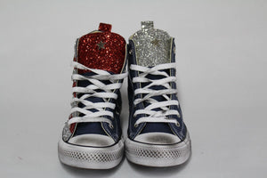 Converse All Star Navy Glitter Silver Red