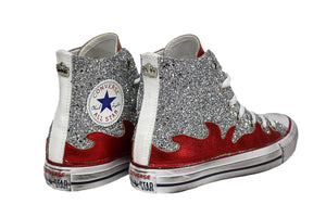 Converse All Star White glitter Argento Fiamme Rosse