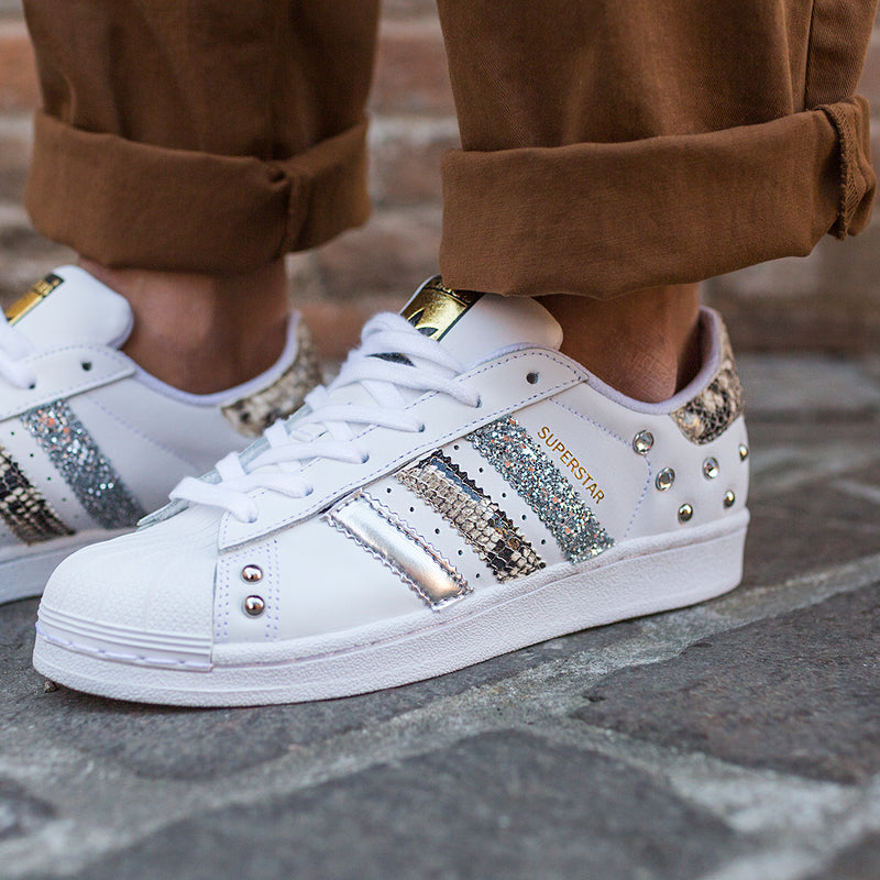 Adidas Superstar Pitonate Silver Glitter & Borchie