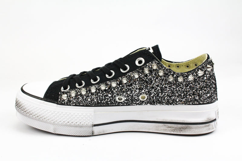 Converse All Star Platform Black Silver Glitter & Borchie