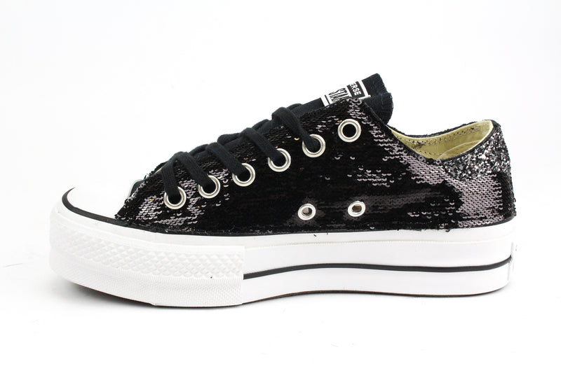 Converse All Star Platform Black Paillettes & Glitter