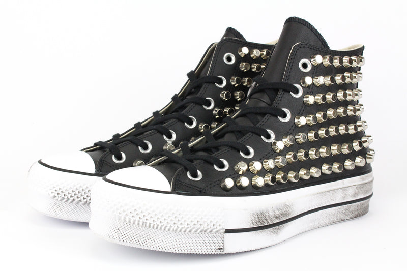 Converse All Star Platform Pelle Total Borchie
