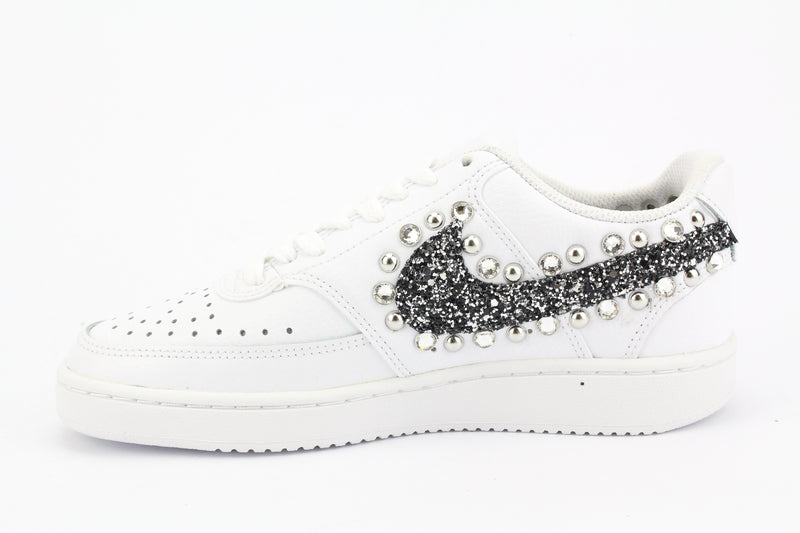 Nike Court Vision Low Black Silver Glitter & Strass