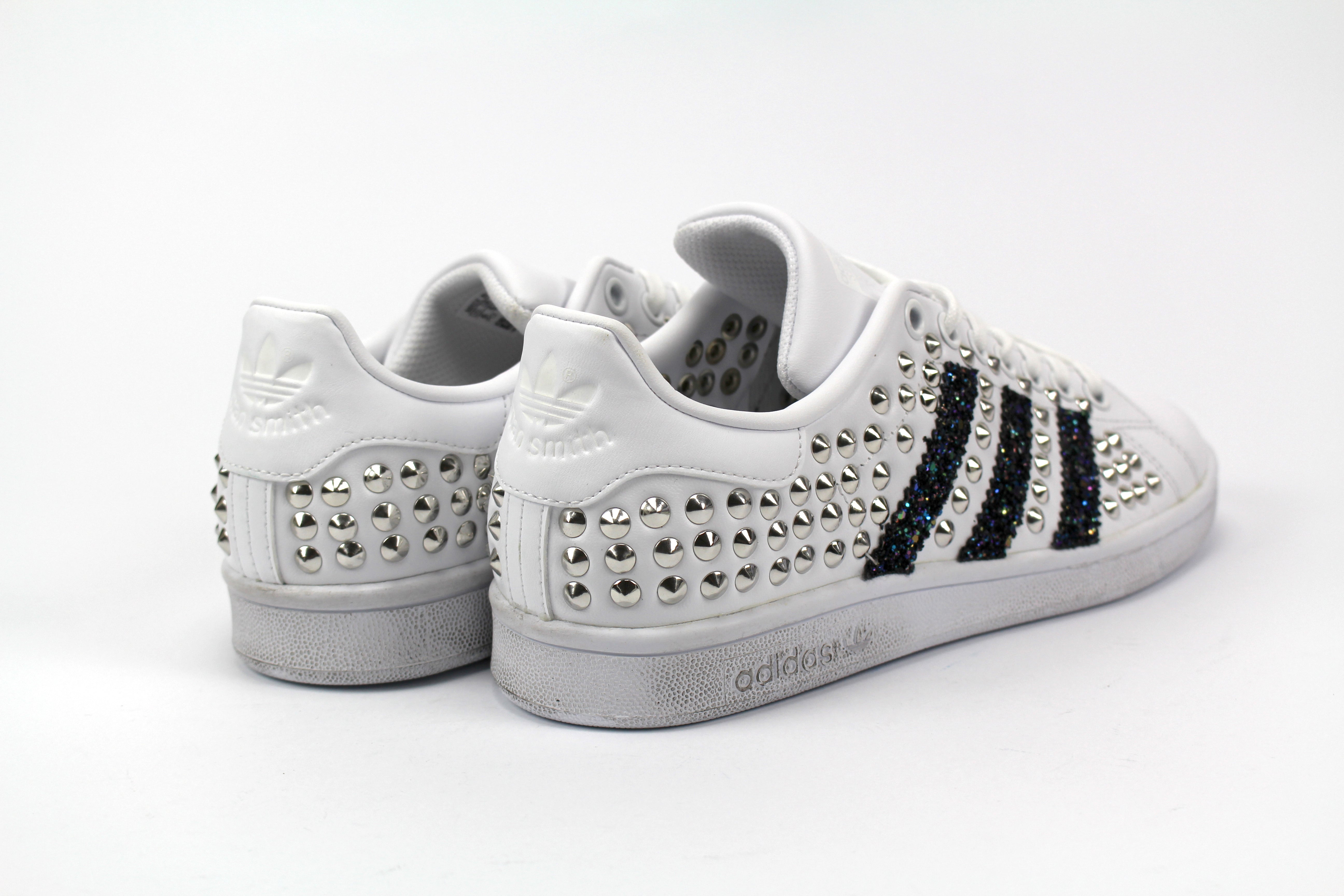 Adidas Stan Smith Personalizzate Total Borchie & Black Iris Glitter