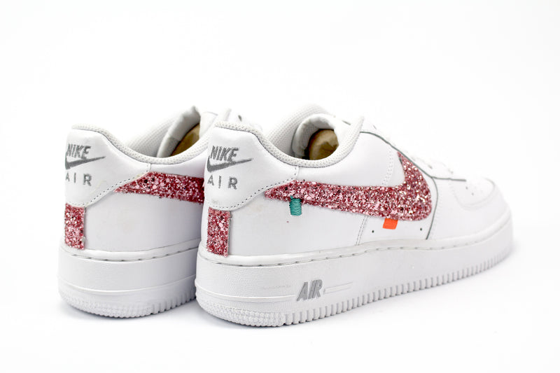 Nike Air Force 1 '07 Personalizzate OFF - Pink Glitter