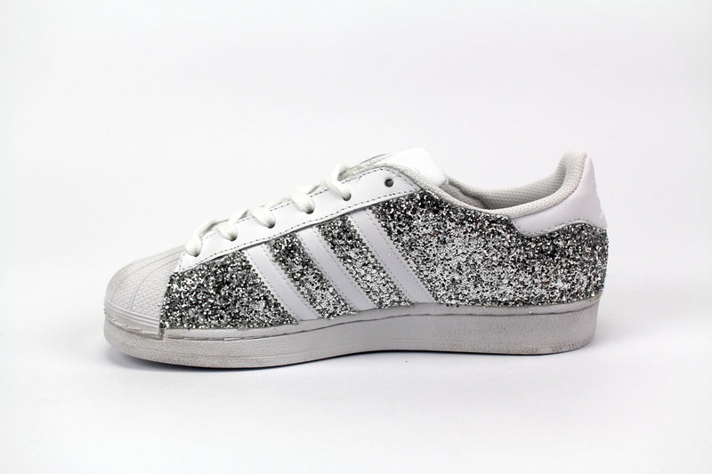 Adidas Superstar White & Total Glitter Silver
