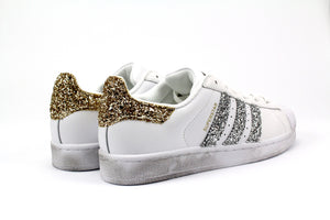 Adidas Superstar Personalizzate Silver/Gold Glitter