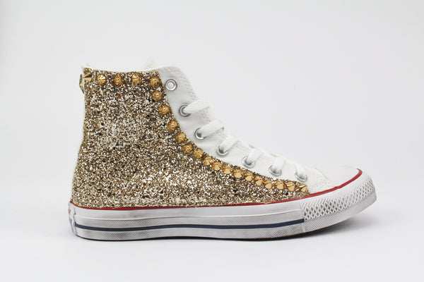 Converse All Star Personalizzate Gold Glitter & Borchie
