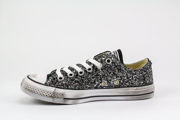 Converse All Star Black Silver Glitter