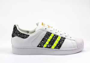 Adidas Superstar Yellow Fluo & Black Glitter Personalizzate