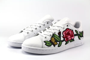 Adidas Stan Smith Total White & Ricamo Rosa
