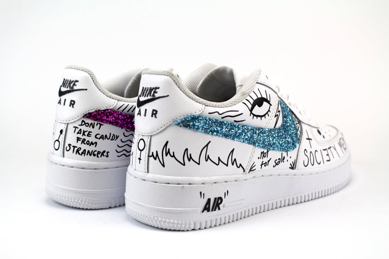 Nike Air Force 1 '07 Personalizzate Multiglitter Eye & Sword