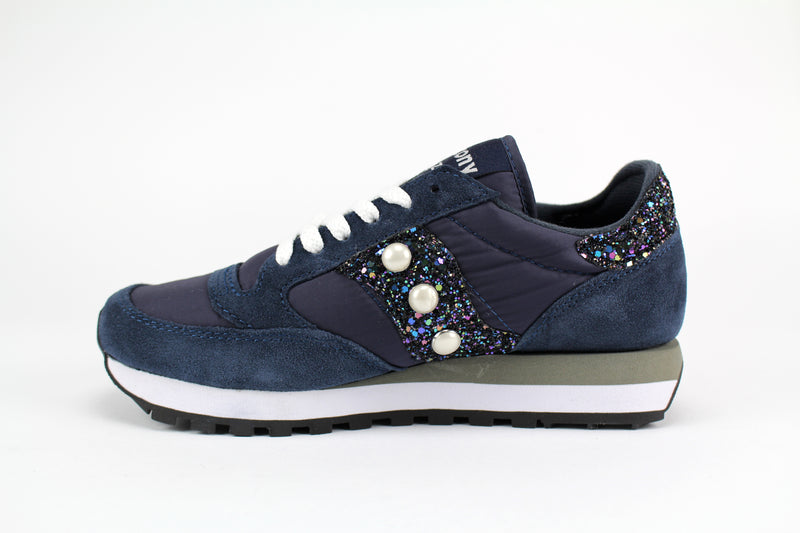 Saucony Jazz Navy Glitter & Perle personalizzate