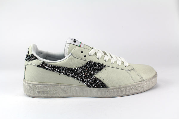 Diadora Game L Low Waxed Personalizzate Black Silver Glitter