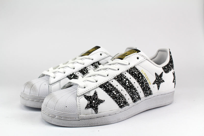 Adidas Superstar Personalizzate Stelle Glitter Back Silver