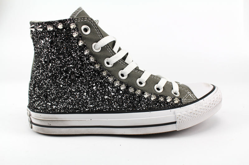 Converse All Star Charcoal Black Silver Glitter & Borchie