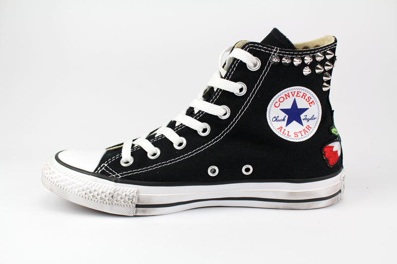 Converse All Star Personalizzate Black Ricami & Borchie
