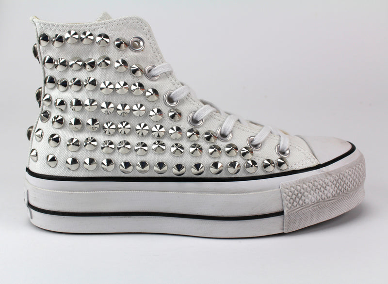 Converse All Star Platform Personalizzate White Total Borchie