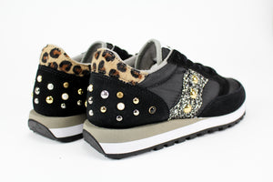 Saucony Jazz Black Personalizzate Maculate Glitter & Borchie