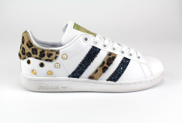 Adidas Stan Smith Personalizzate Maculate Glitter Black Iris & Borchie