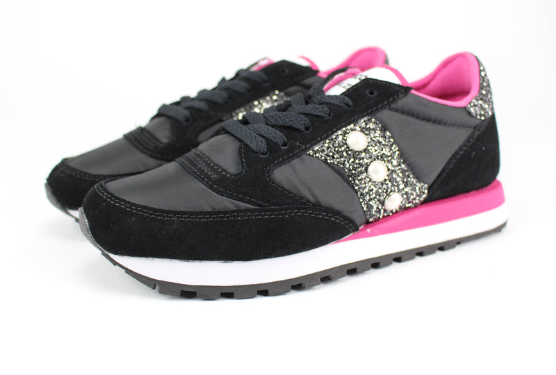 Saucony Jazz Black/Pink Black Silver Glitter & Perle