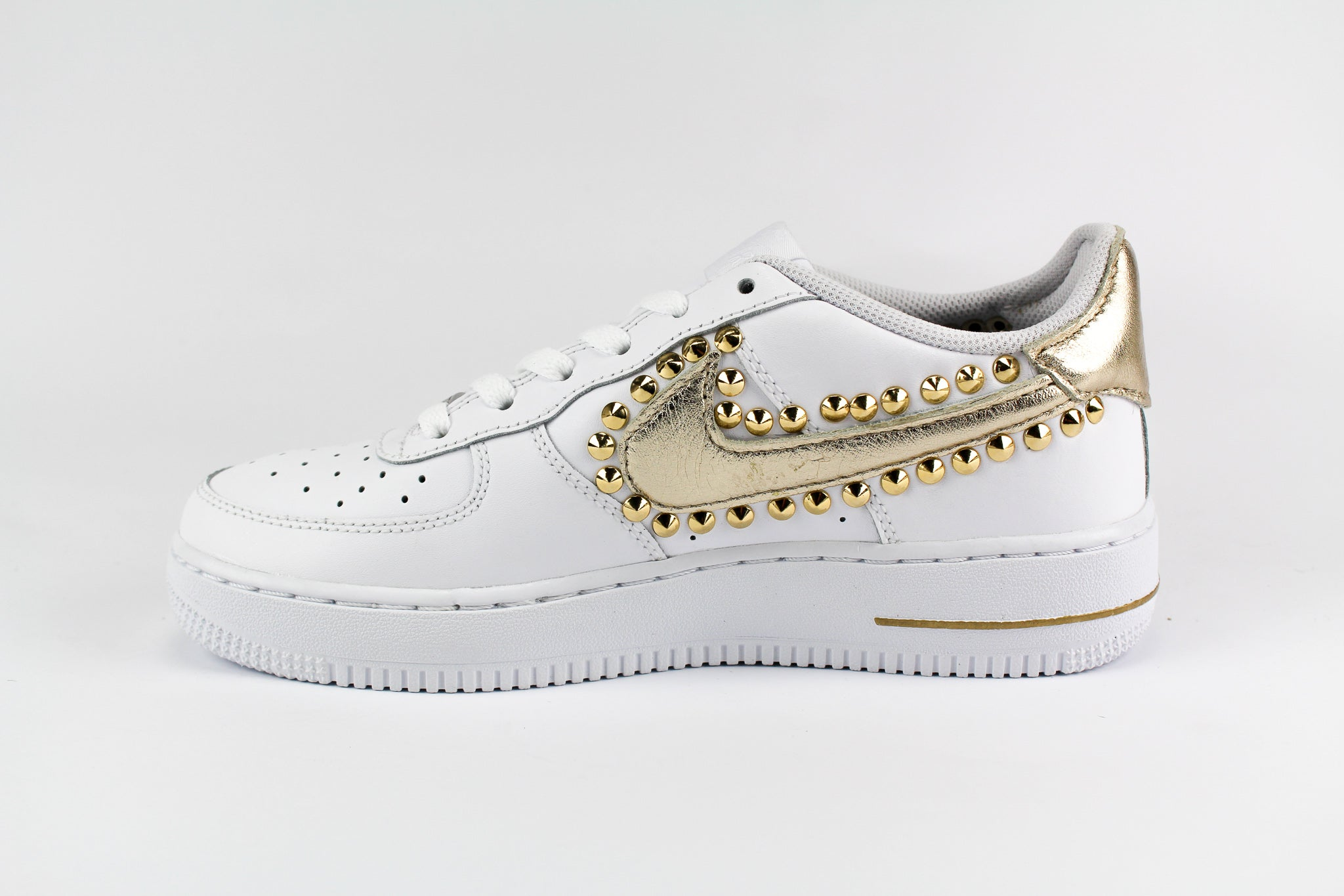 Nike Air Force 1 '07 Personalizzate Gold Metal & Borchie