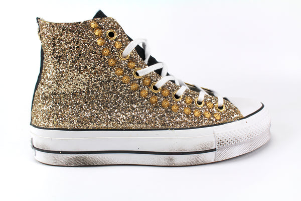 Converse All Star Platform Black Total Gold Glitter
