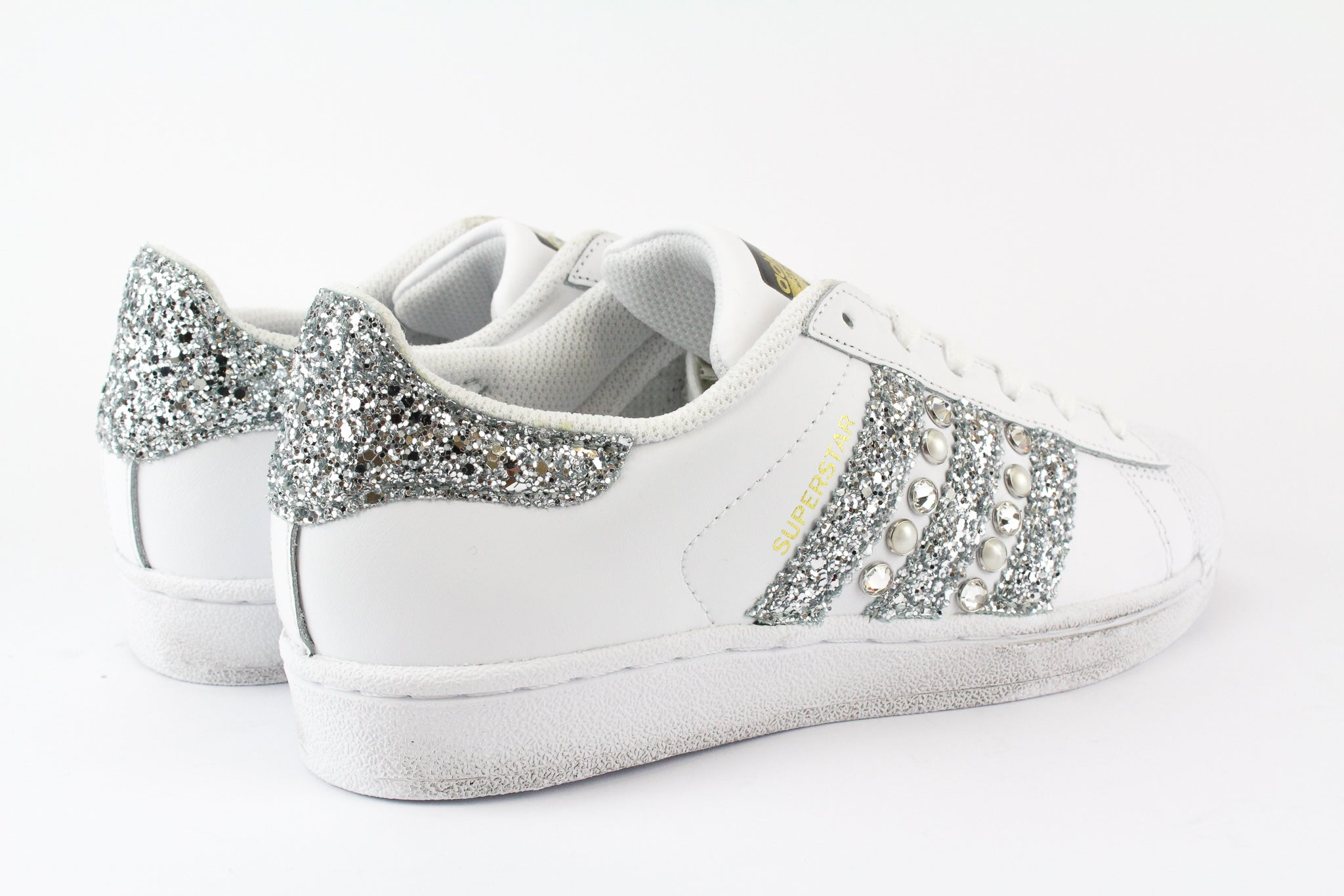 Adidas Superstar Personalizzate Silver Glitter & Strass