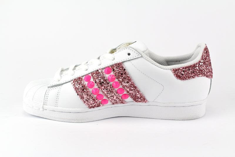 Adidas Superstar Personalizzate Pink Fluo & Glitter