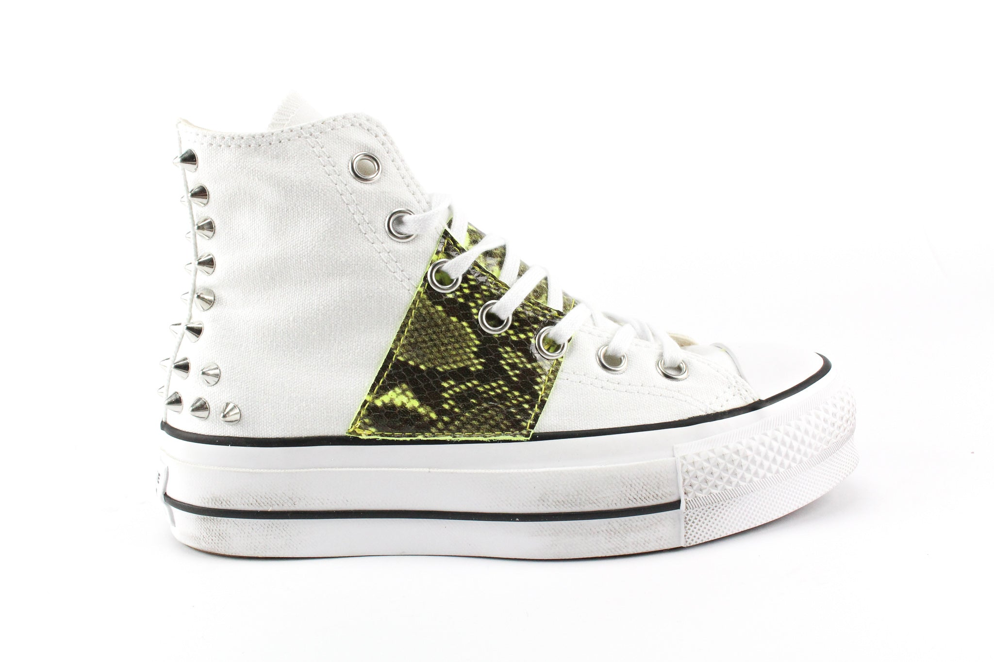 Converse All Star Platform Pitone Yellow Fluo & Borchie