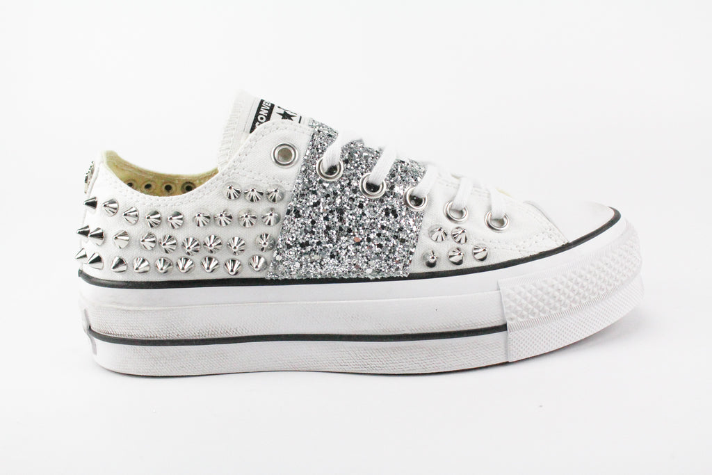 Converse All Star Platform White Borchie & Silver Glitter