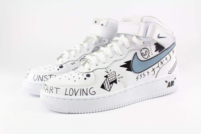 Nike Air Force 1 Mid '07 Personalizzate Eye & Sword – Ballo
