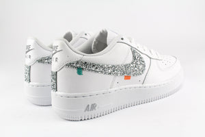 Nike Air Force One '07 Personalizzate Sport 80's Silver Glitter