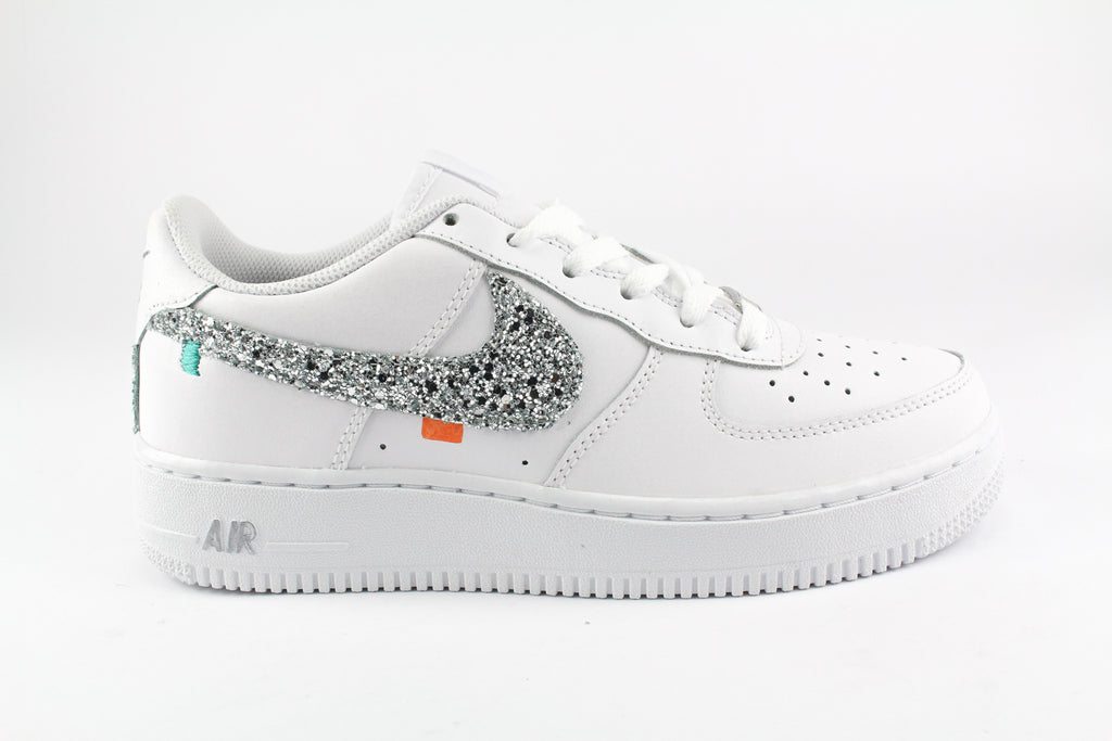 Nike Air Force One '07 Personalizzate Sport 80's Silver Glitter ...