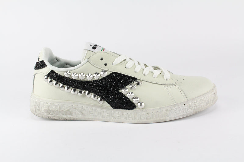 Diadora Game L Low Waxed Black Glitter & Borchie