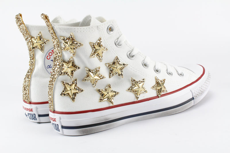 Converse All Star White Stelle Gold Glitter